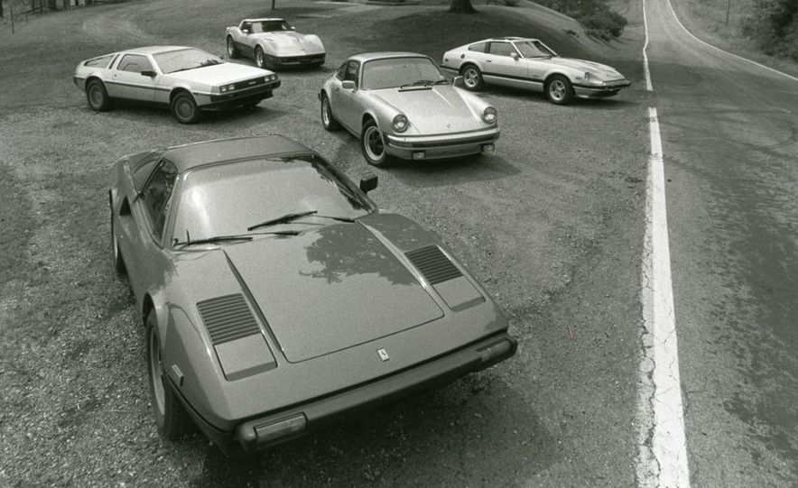 1981 Ferrari 308GTSi, 1981 Porsche 911SC, 1981 Datsun 280-ZX Turbo, 1981 De Lorean, and 1981 Chevrolet Corvette - Slide 1