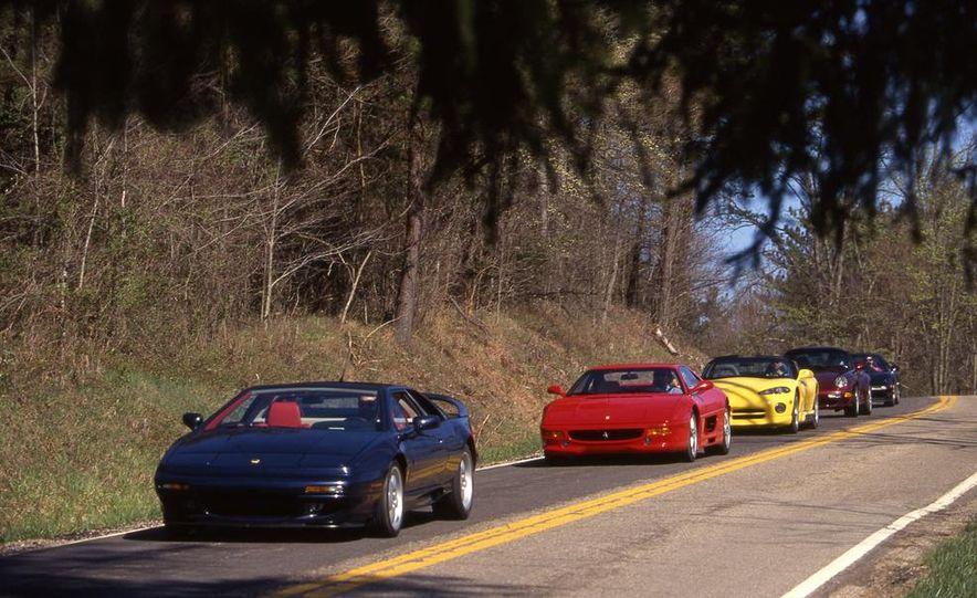 Lotus Esprit S4S, Ferrari F355, Dodge Viper, Porsche 911 Turbo, and Acura NSX-T - Slide 1