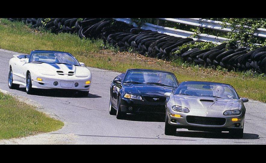 1999 Pontiac Firebird Trans Am convertible, Ford SVT Mustang Cobra convertible, Chevrolet Camaro Z28 SS convertible - Slide 1
