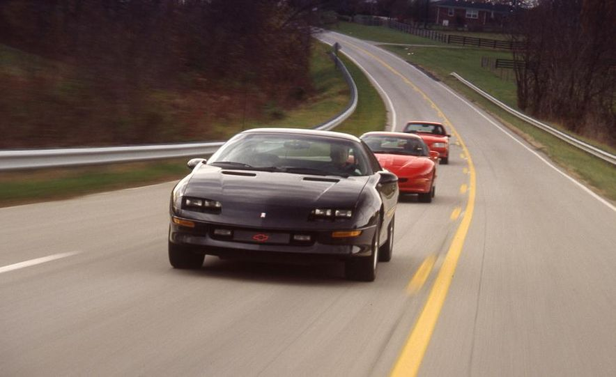 1993 Chevrolet Camaro Z28, 1993 Pontiac Firebird Formula, and 1993 Ford Mustang Cobra - Slide 1