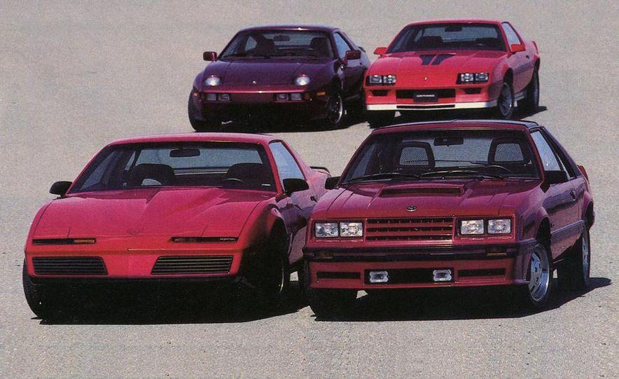 1982 Porsche 928, Chevrolet Camaro Z28, Pontiac Firebird Trans Am, Ford Mustang GT - Slide 1