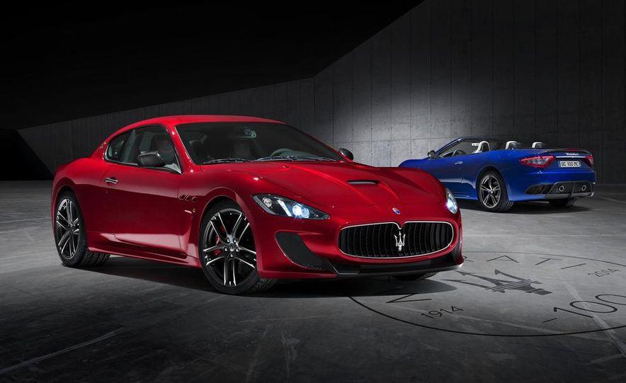 2015 Maserati GranTurismo Magma Red Centennial Edition coupe and Inchiostro Blue Centennial Edition convertible - Slide 1