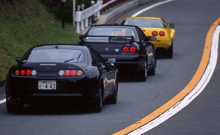 Toyota Supra Turbo, 1995 Nissan Skyline GT-R, and Chevrolet Corvette - Slide 1