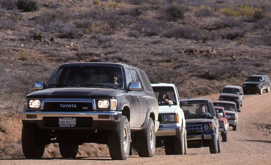 Toyota 4Runner SR5 V6 4WD, Isuzu Trooper LS, Mitsubishi Montero LS, Jeep Cherokee Laredo, Ford Explorer Eddie Bauer, Nissan Pathfinder SE V6, and GMC S-15 Jimmy SLX - Slide 1