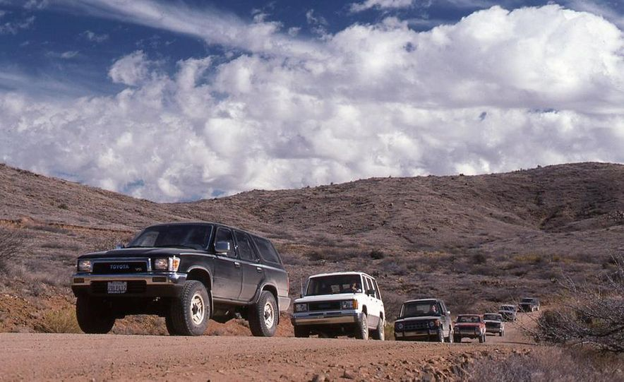 Toyota 4Runner SR5 V6 4WD, Isuzu Trooper LS, Mitsubishi Montero LS, Jeep Cherokee Laredo, Ford Explorer Eddie Bauer, Nissan Pathfinder SE V6, and GMC S-15 Jimmy SLX - Slide 2