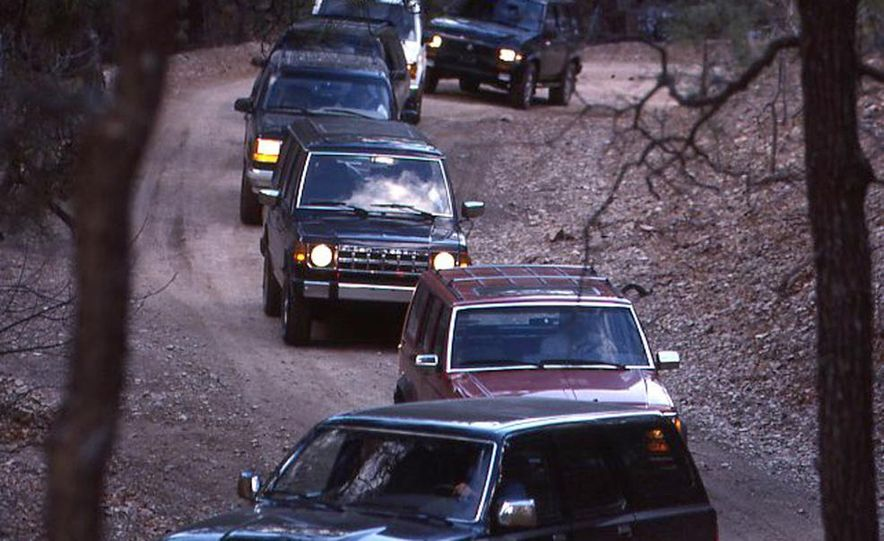 Toyota 4Runner SR5 V6 4WD, Isuzu Trooper LS, Mitsubishi Montero LS, Jeep Cherokee Laredo, Ford Explorer Eddie Bauer, Nissan Pathfinder SE V6, and GMC S-15 Jimmy SLX - Slide 4