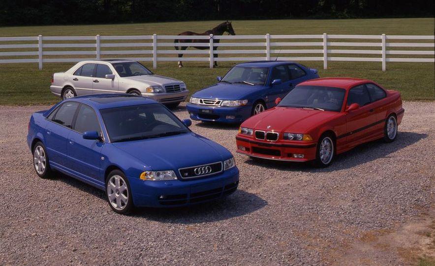 Audi S4 Quattro, Mercedes-Benz C43 AMG, Saab 9-3 Viggen, and BMW M3 - Slide 1