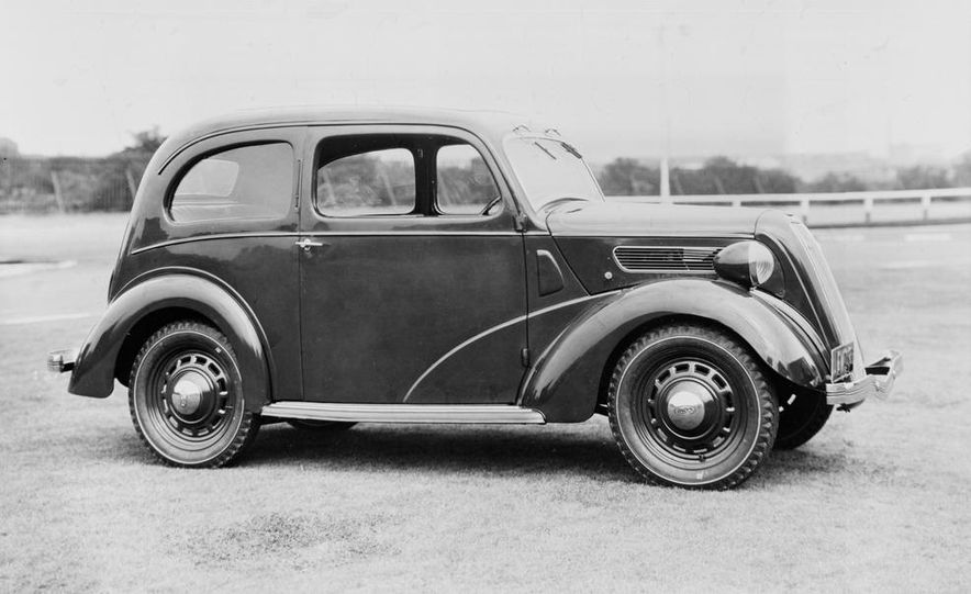1937 Ford Anglia model shown - Slide 1