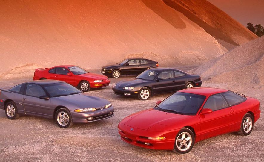 Mitsubishi Eclipse GSX, Honda Prelude Si VTEC, Volkswagen Corrado SLC, Mazda MX-6 LS, and Ford Probe GT - Slide 1