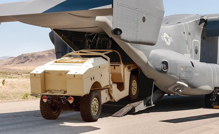 Boeing's Phantom Badger is a rugged combat support vehicle designed for internal transport aboard the V-22, CH-47, C-130, C-17, and other aircraft. - Slide 6
