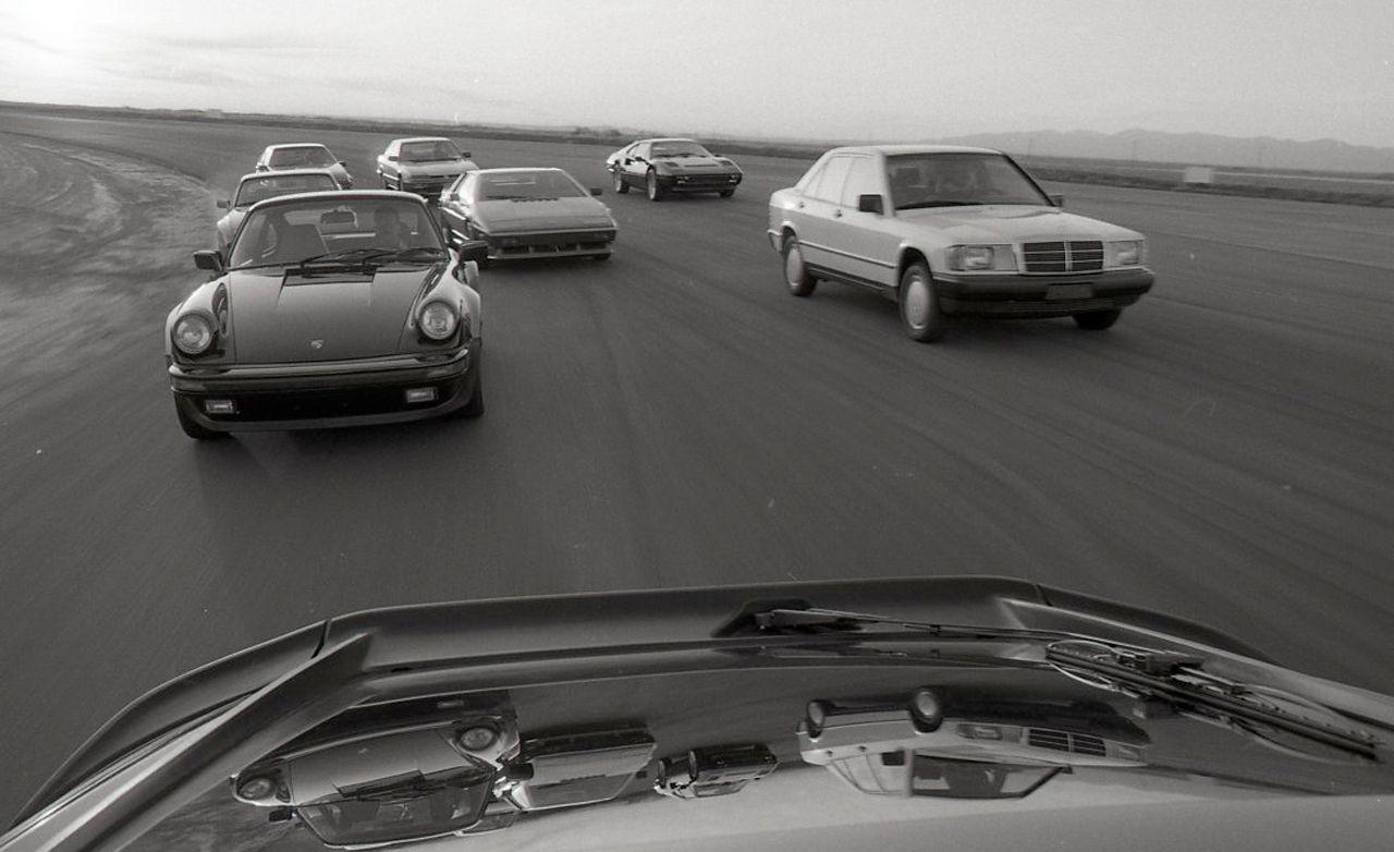 Audi Quattro vs. Ferrari 308 Quattrovalvole, Honda Prelude, Lotus Esprit Turbo, Porsche 911 Carrera, 928S, and 944, Toyota Celica Supra