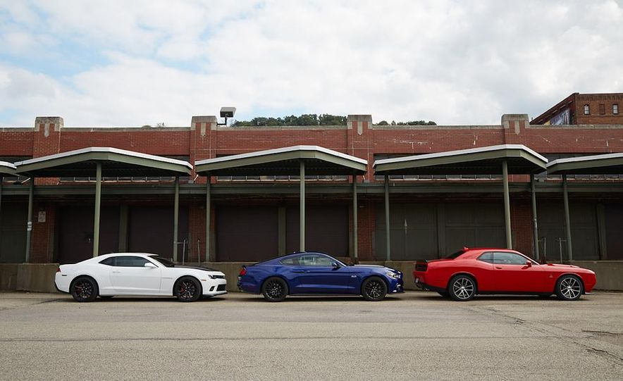 2015 Dodge Challenger R/T Scat Pack, 2015 Chevrolet Camaro SS 1LE, and 2015 Ford Mustang GT - Slide 21