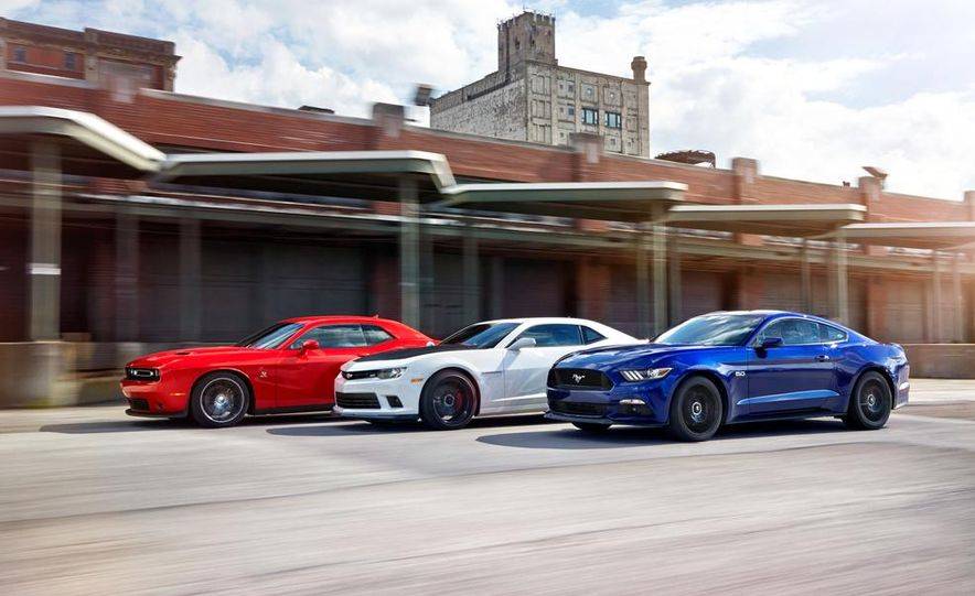 2015 Dodge Challenger R/T Scat Pack, 2015 Chevrolet Camaro SS 1LE, and 2015 Ford Mustang GT - Slide 1