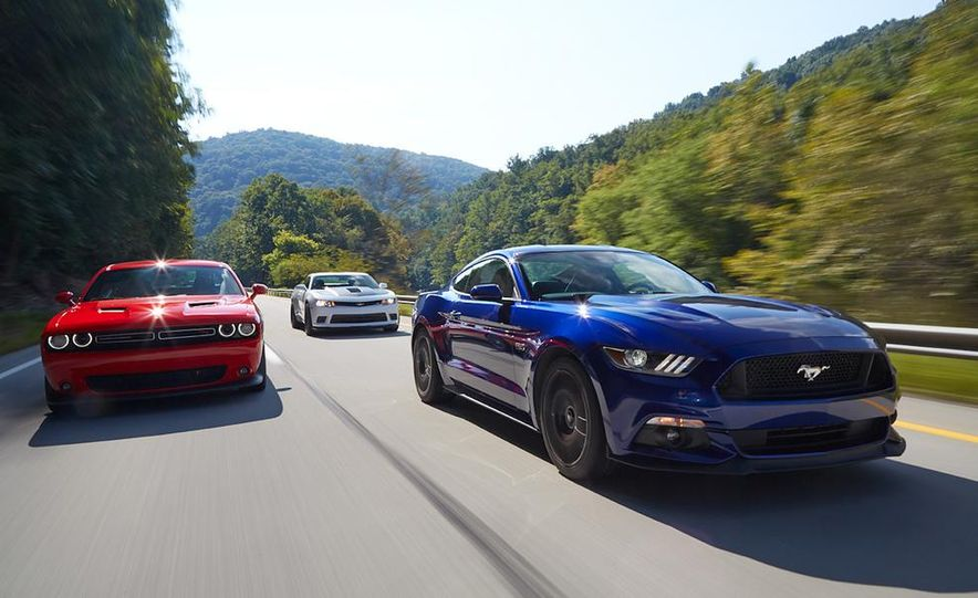 2015 Dodge Challenger R/T Scat Pack, 2015 Chevrolet Camaro SS 1LE, and 2015 Ford Mustang GT - Slide 8