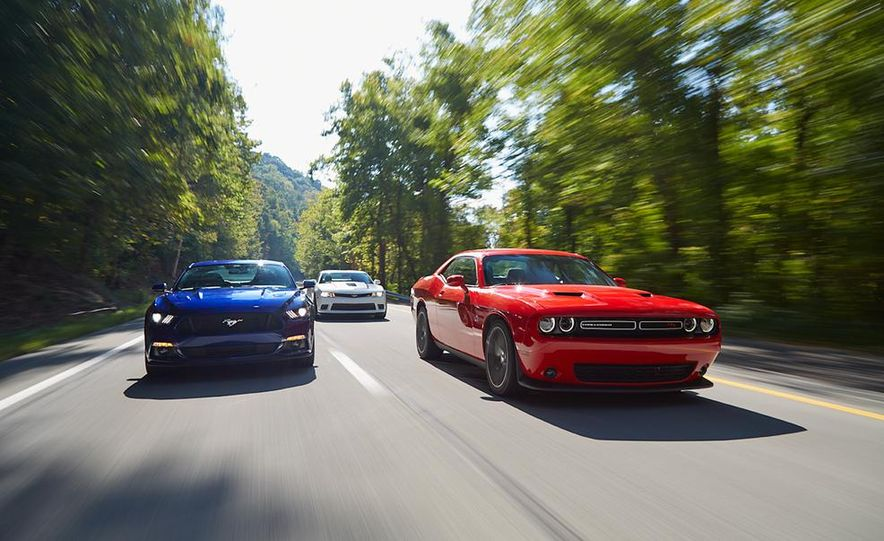 2015 Dodge Challenger R/T Scat Pack, 2015 Chevrolet Camaro SS 1LE, and 2015 Ford Mustang GT - Slide 7