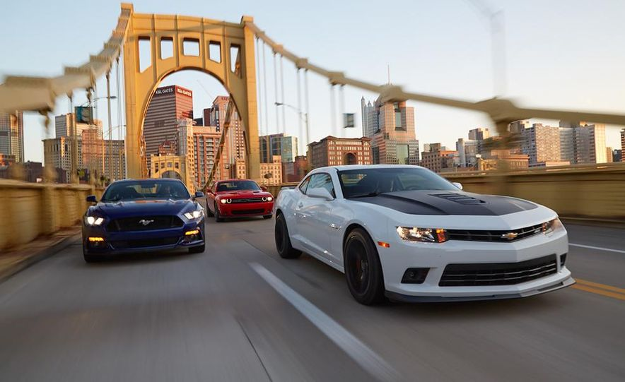 2015 Dodge Challenger R/T Scat Pack, 2015 Chevrolet Camaro SS 1LE, and 2015 Ford Mustang GT - Slide 2
