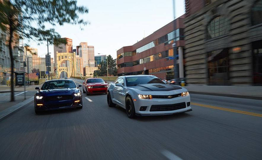 2015 Dodge Challenger R/T Scat Pack, 2015 Chevrolet Camaro SS 1LE, and 2015 Ford Mustang GT - Slide 3