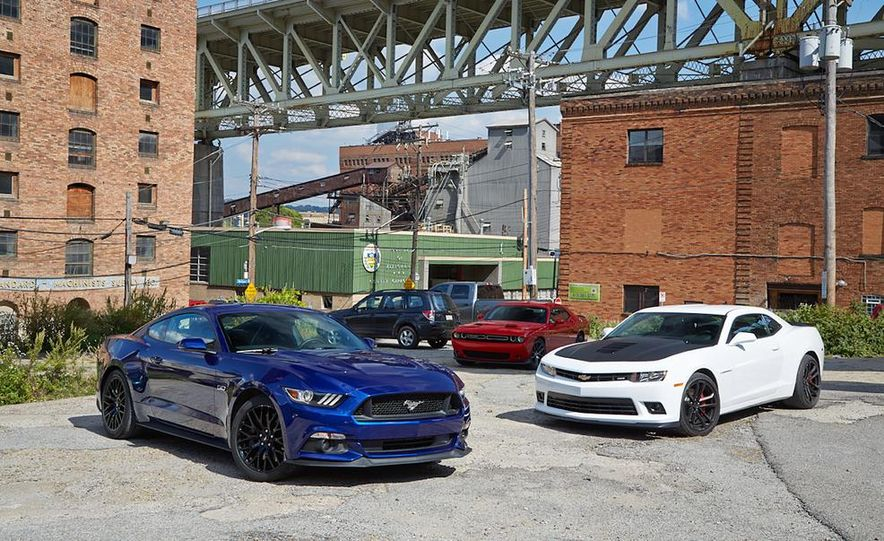 2015 Dodge Challenger R/T Scat Pack, 2015 Chevrolet Camaro SS 1LE, and 2015 Ford Mustang GT - Slide 19