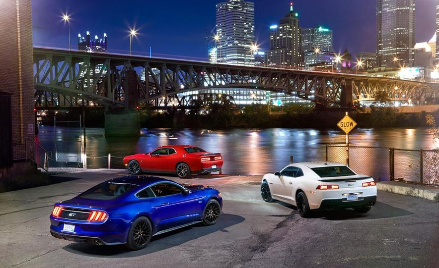 2015 Dodge Challenger R/T Scat Pack, 2015 Chevrolet Camaro SS 1LE, and 2015 Ford Mustang GT - Slide 20
