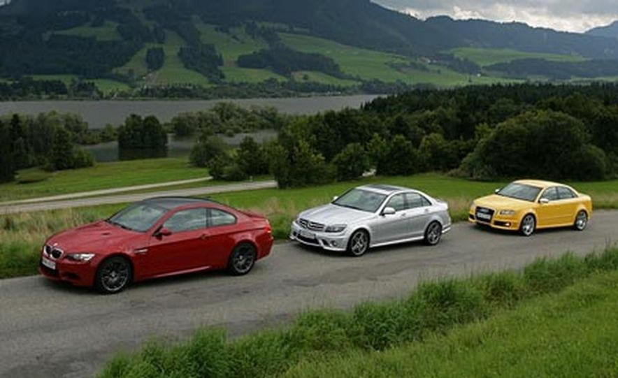2008 BMW M3, 2008 Mercedes-Benz C63 AMG, and 2007 Audi RS 4 - Slide 1