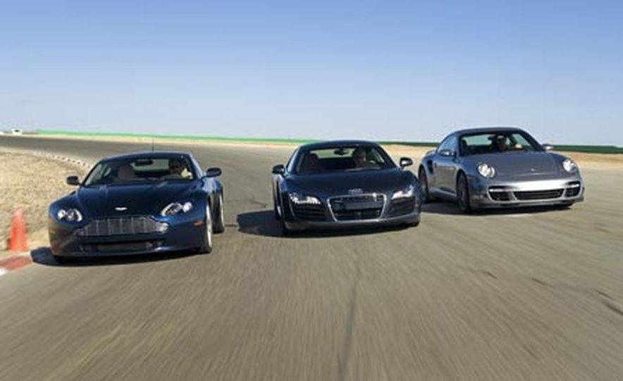 2007 Aston Martin V-8 Vantage, 2007 Porsche 911 Turbo, and 2008 Audi R8 - Slide 1
