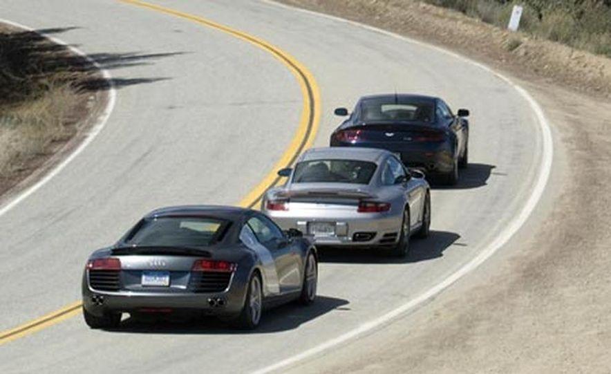 2007 Aston Martin V-8 Vantage, 2007 Porsche 911 Turbo, and 2008 Audi R8 - Slide 2