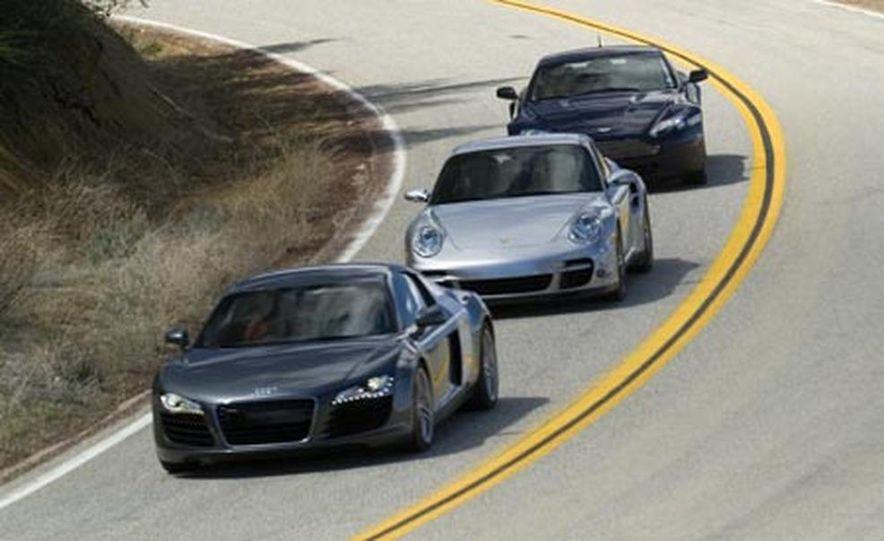 2007 Aston Martin V-8 Vantage, 2007 Porsche 911 Turbo, and 2008 Audi R8 - Slide 3