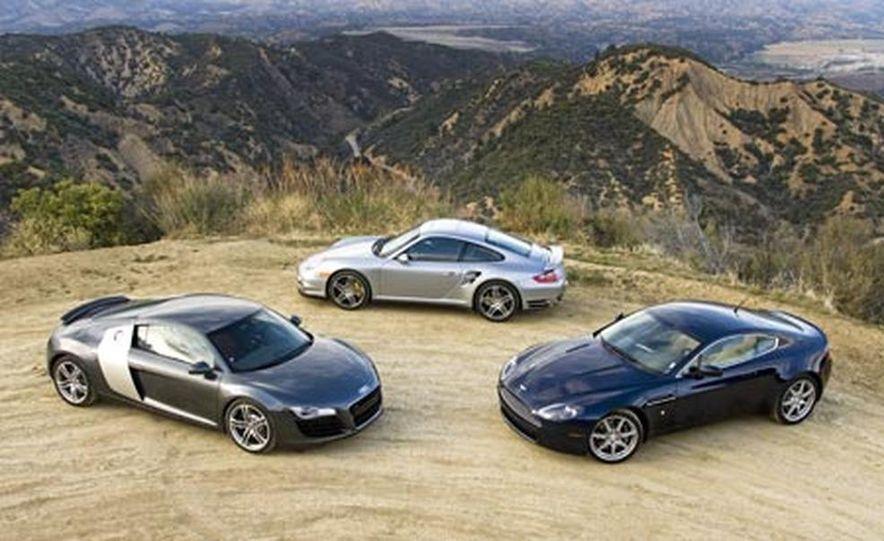 2007 Aston Martin V-8 Vantage, 2007 Porsche 911 Turbo, and 2008 Audi R8 - Slide 4