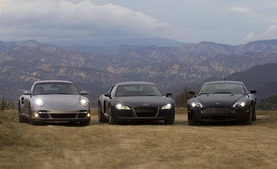 2007 Aston Martin V-8 Vantage, 2007 Porsche 911 Turbo, and 2008 Audi R8 - Slide 5