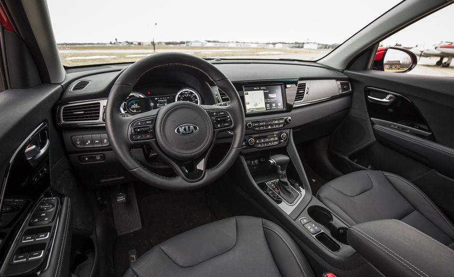 2017 kia niro interior review car and driver. Black Bedroom Furniture Sets. Home Design Ideas