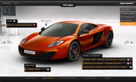 McLaren Launches Online Configurator for MP4-12C Supercar