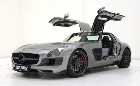 Brabus Twin-Turbocharges the SLS AMG, Adds Carbon Fiber and Blue Lights
