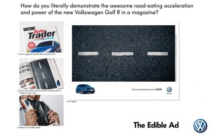 "Volkswagen Produces Edible Magazine Ad for its ""Road-Eating"" Golf R"