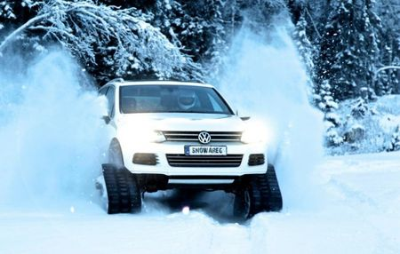 Dashing Through the Snow—In a V-8 Diesel VW Touareg Wearing Tracks