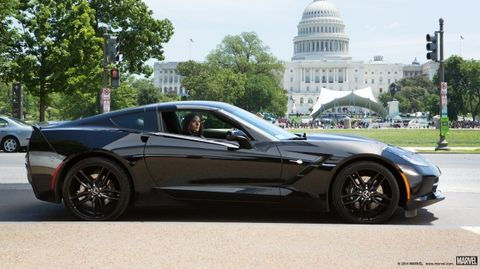 Total Fox Scarlett Johansson Drives Black Corvette in New Captain America Flick [2014 Chicago Auto Show]