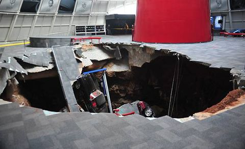 Sinkhole at National Corvette Museum Swallows Eight Historic Vettes, Turns Hump Day Upside Down