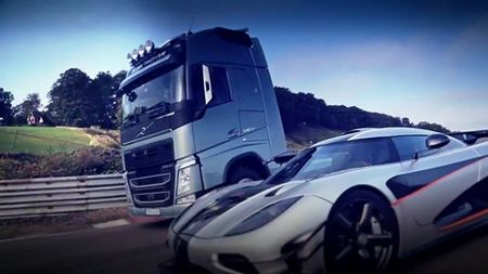 Watch Tiff Needell Race a Volvo Big Rig Against Koenigsegg's Insane One:1