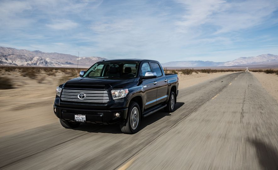 2014 Toyota Tundra Platinum, 2015 Chevrolet Silverado 1500 High Country, 2015 Ford F-150 Platinum 3.5L EcoBoost, and 2015 Ram 1500 Laramie Longhorn Limited - Slide 9