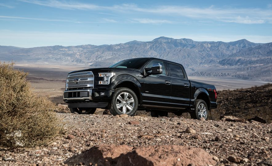 2014 Toyota Tundra Platinum, 2015 Chevrolet Silverado 1500 High Country, 2015 Ford F-150 Platinum 3.5L EcoBoost, and 2015 Ram 1500 Laramie Longhorn Limited - Slide 88