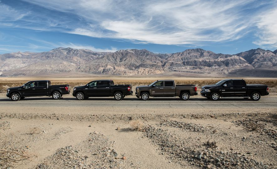 2014 Toyota Tundra Platinum, 2015 Chevrolet Silverado 1500 High Country, 2015 Ford F-150 Platinum 3.5L EcoBoost, and 2015 Ram 1500 Laramie Longhorn Limited - Slide 4