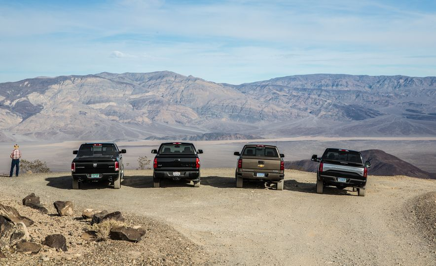 2014 Toyota Tundra Platinum, 2015 Chevrolet Silverado 1500 High Country, 2015 Ford F-150 Platinum 3.5L EcoBoost, and 2015 Ram 1500 Laramie Longhorn Limited - Slide 6