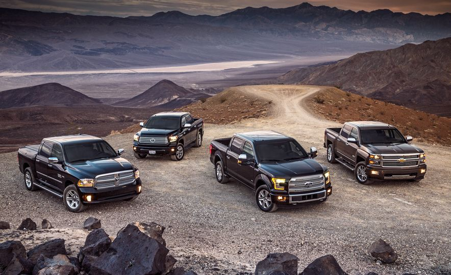 2014 Toyota Tundra Platinum, 2015 Chevrolet Silverado 1500 High Country, 2015 Ford F-150 Platinum 3.5L EcoBoost, and 2015 Ram 1500 Laramie Longhorn Limited - Slide 7