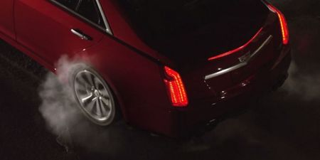 Watch as the 2016 Cadillac CTS-V Does a Burnout—Inside