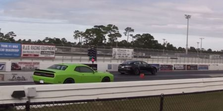 Tesla's P85D Sets EV-Record 1/4-Mile, Destroys (Poorly Launched) Challenger Hellcat [Video]