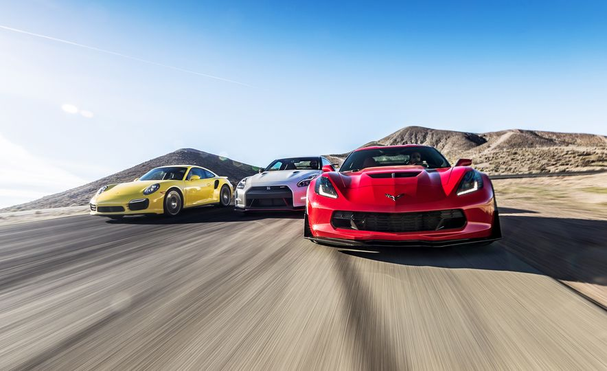 2014 Porsche 911 Turbo S, 2015 Nissan GT-R NISMO, and 2015 Chevrolet Corvette Z06 - Slide 1