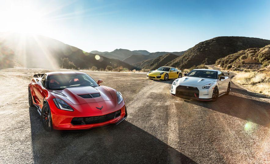 2014 Porsche 911 Turbo S, 2015 Nissan GT-R NISMO, and 2015 Chevrolet Corvette Z06 - Slide 3