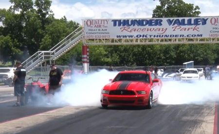 Here's What a 1500-hp Turbo Mustang Drag Car Can Do to a GT-R [Video]