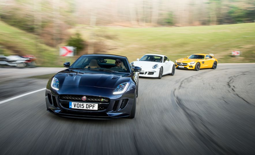 2016 Jaguar F-type R coupe, 2015 Porsche 911 Carrera GTS, and 2016 Mercedes-AMG GT S - Slide 1
