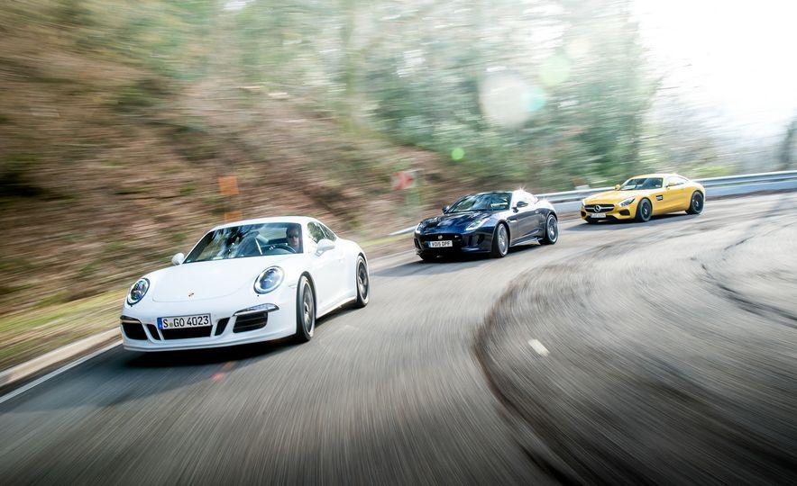 2016 Jaguar F-type R coupe, 2015 Porsche 911 Carrera GTS, and 2016 Mercedes-AMG GT S - Slide 2