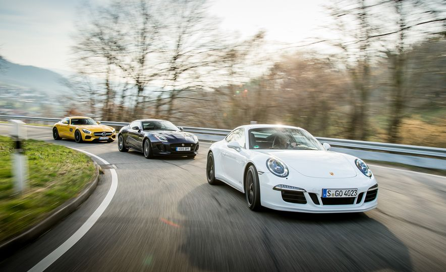 2016 Jaguar F-type R coupe, 2015 Porsche 911 Carrera GTS, and 2016 Mercedes-AMG GT S - Slide 3